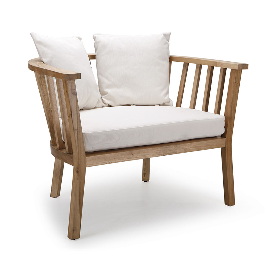 Solid wood crescent-moon barrel accent lounge chair