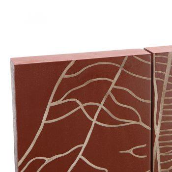 Modern contemporary solid wood rectangular leaf wall art
