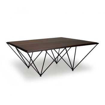 Retro industrial solid wood and metal geometric coffee table