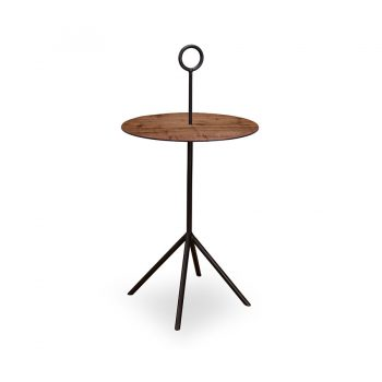 Walnut wood veneer and metal round side table with paper thin top