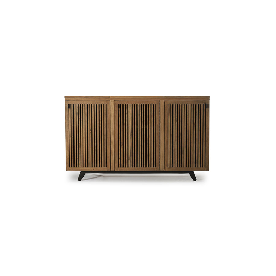 Traditional expandable slatted solid wood buffet cabinet