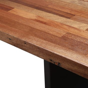 Solid wood laminated strips slats and metal panel legs dining table