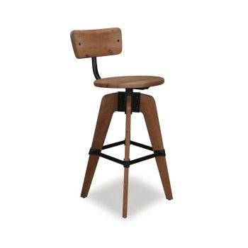 Reclaimed wood and metal revolving bar stool with backrest