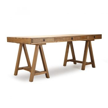 Traditional mid-century solid wood trestle desk table with drawers