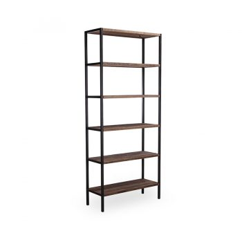 Industrial modern six layer open shelves reclaimed wood and metal bookcase