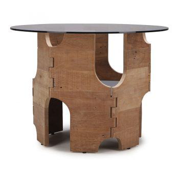 Sculptural reclaimed wood accent table traditional knuckle joinery with glass top