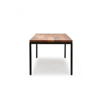 Chunky industrial modern solid wood and metal dining table