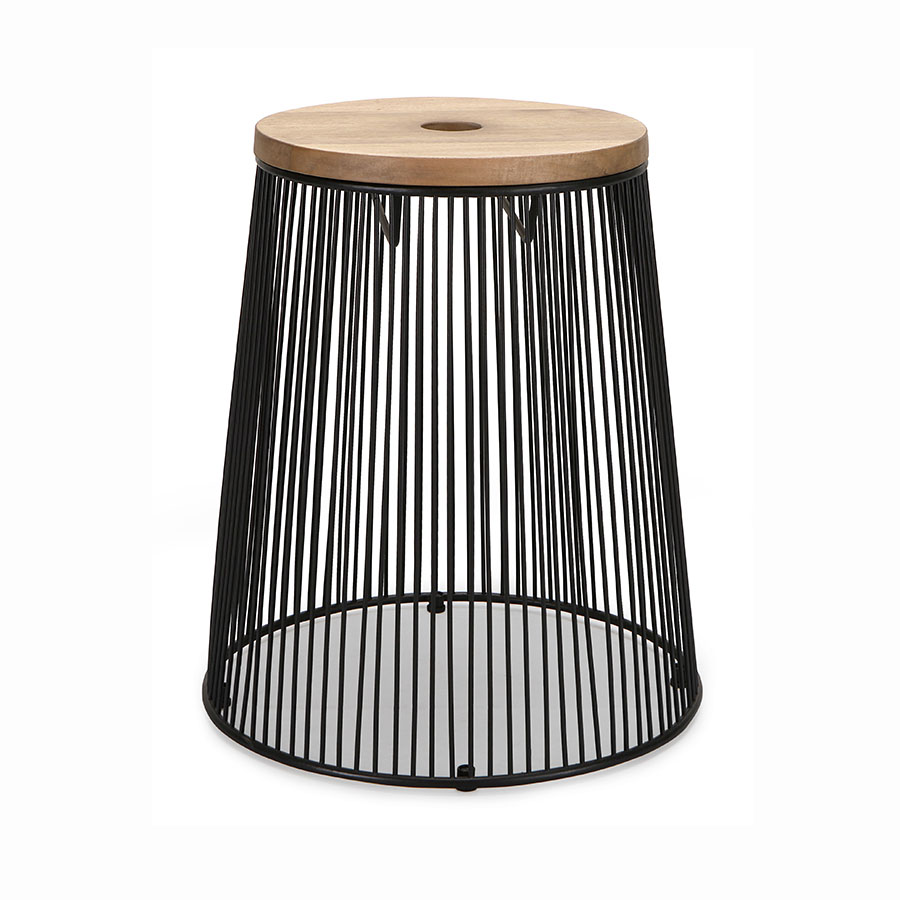 Contemporary metal wire and wood stool
