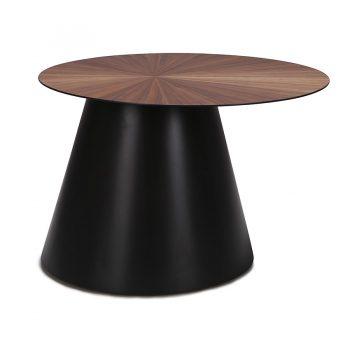 Industrial Walnut wood veneer and metal round coffee table
