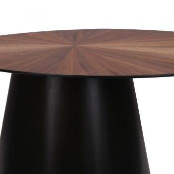 Industrial Walnut wood veneer and metal round side table