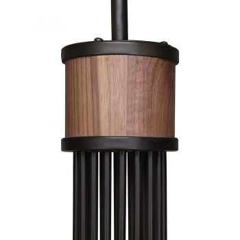 Industrial traditional solid walnut wood and metal classic chandelier