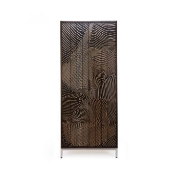 Handcarved hatching technique solid wood veneer and stainless steel contemporary cabinet