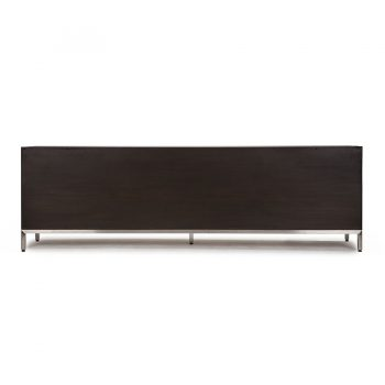 Handcarved solid wood veneer and stainless steel contemporary entertainment cabinet media center