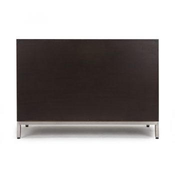 Handcarved solid wood veneer and stainless steel contemporary sideboard buffet table