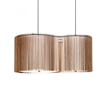 Contemporary figure eight-shaped solid wood fabric shade and metal twin chandelier