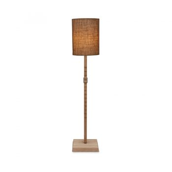 Decorative saw-tooth adjustable solid wood metal and burlap shade cylindrical floor lamp
