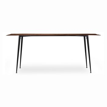 Walnut wood veneer and metal live edge sofa table with paper thin top