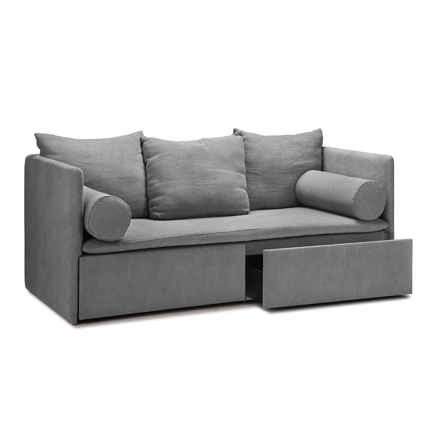 Wooden upholstered modern daybed with cushions and pillows