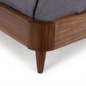 Contemporary solid wood veneer bed with curbed headboard