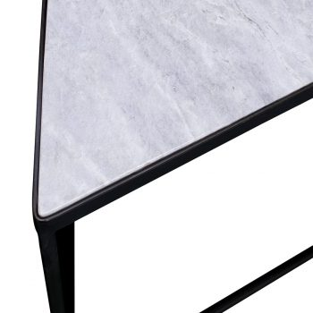 Contemporary marble stone and metal sqaure diamond accent side table