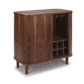 Contemporary Walnut wood veneer sliding tambour wine rack cabinet