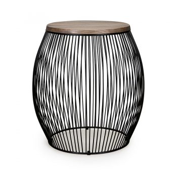 Contemporary solid wood and metal wire barrel cage side table