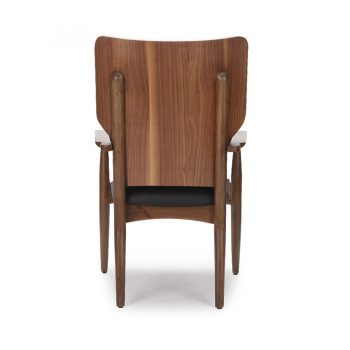 Solid wood accent chair with leather seat