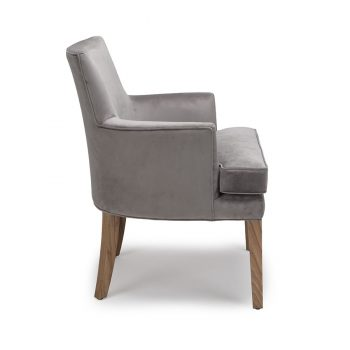 Contemporary solid wood velvet fabric dining arm chair