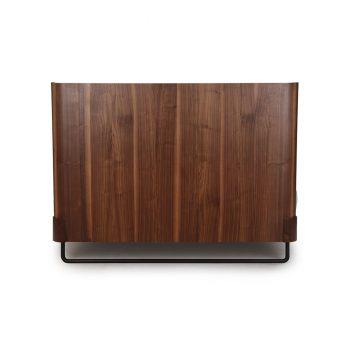 Industrial modern solid walnut metal and veneer queen sized bed