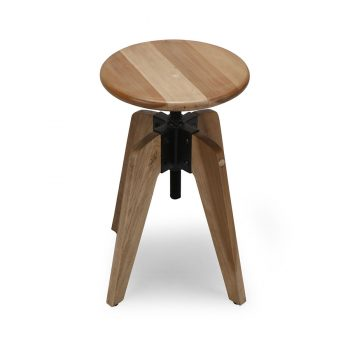 Reclaimed wood and metal revolving stool